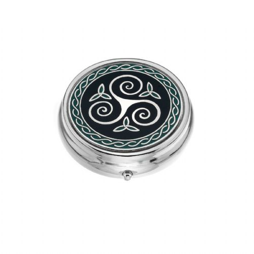 Large Pill Box Silver Plated Celtic Triskele Trinity Green Brand New & Boxed